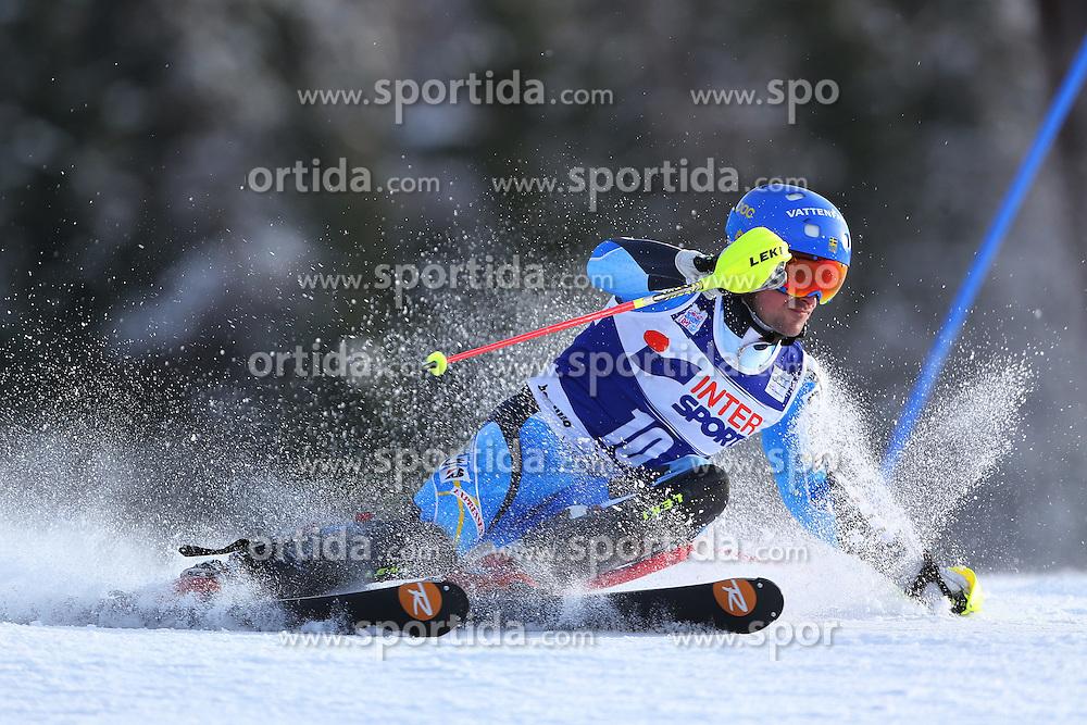 06.01.2014, Stelvio, Bormio, ITA, FIS Weltcup Ski Alpin, Bormio, Slalom, Herren, im Bild Markus Larsson // Markus Larsson  in action during mens Slalom of the Bormio FIS Ski World Cup at the Stelvio in Bormio, Italy on 2014/01/06. EXPA Pictures © 2014, PhotoCredit: EXPA/ Sammy Minkoff<br /> <br /> *****ATTENTION - OUT of GER*****