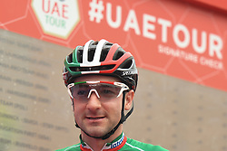March 1, 2019 - Ajman, United Arab Emirates - Elia Viviani of Italy and Deceuninck - Quick Step Team, seen at the start line of the sixth Rak Properties Stage of UAE Tour 2019, a 180km with a start from Ajman and finish in Jebel Jais. .On Friday, March 1, 2019, in Ajman, Ajman Emirate, United Arab Emirates. (Credit Image: © Artur Widak/NurPhoto via ZUMA Press)