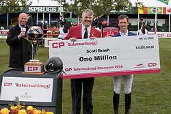 Brash Scott, (GBR) congratulated by Mark Walace, CEO CP International<br /> CSIO 5* Spruce Meadows Masters - Calgary 2016<br /> © Hippo Foto - Dirk Caremans<br /> 11/09/16