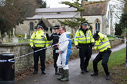 © London News Pictures. 18/12/2013 . Didcot, UK.  Police officers and forensics at at All Saints Church in Dicot where police have started searching in connection with the disappearance of teenager Jayden Parkinson who has been missing since December 3rd. 22 year-old Ben Blakeley has been charged with the murder of 17-year-old Jayden. Photo credit : Ben Cawthra/LNP