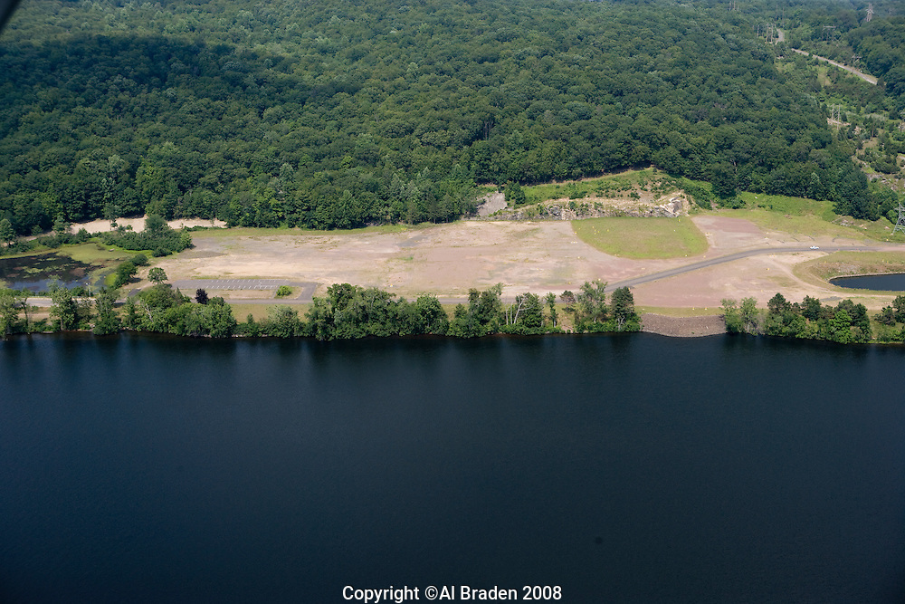 Aerial of former Connecticut Yankee nuclear poer plant site along the Connecticut River,  East Haddam, CT