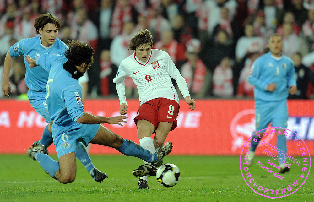 (C) RAFAL BOGUSKI (POLAND) SCORES THIRD GOAL FOR POLAND DURING QUALIFICATION WORLD CAP SOUTH AFRICA 2010 SOCCER MATCH BETWEEN POLAND AND SAN MARINO IN KIELCE , POLAND...POLAND, KIELCE , APRIL 01, 2009..( PHOTO BY ADAM NURKIEWICZ / MEDIASPORT )..PICTURE ALSO AVAIBLE IN RAW OR TIFF FORMAT ON SPECIAL REQUEST.