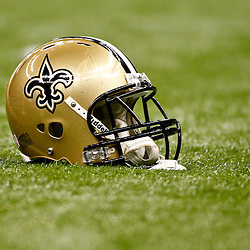 January 1, 2012; New Orleans, LA, USA; A detailed view of a New Orleans Saints helmet on the field prior to kickoff of a game against the Carolina Panthers at the Mercedes-Benz Superdome. Mandatory Credit: Derick E. Hingle-US PRESSWIRE