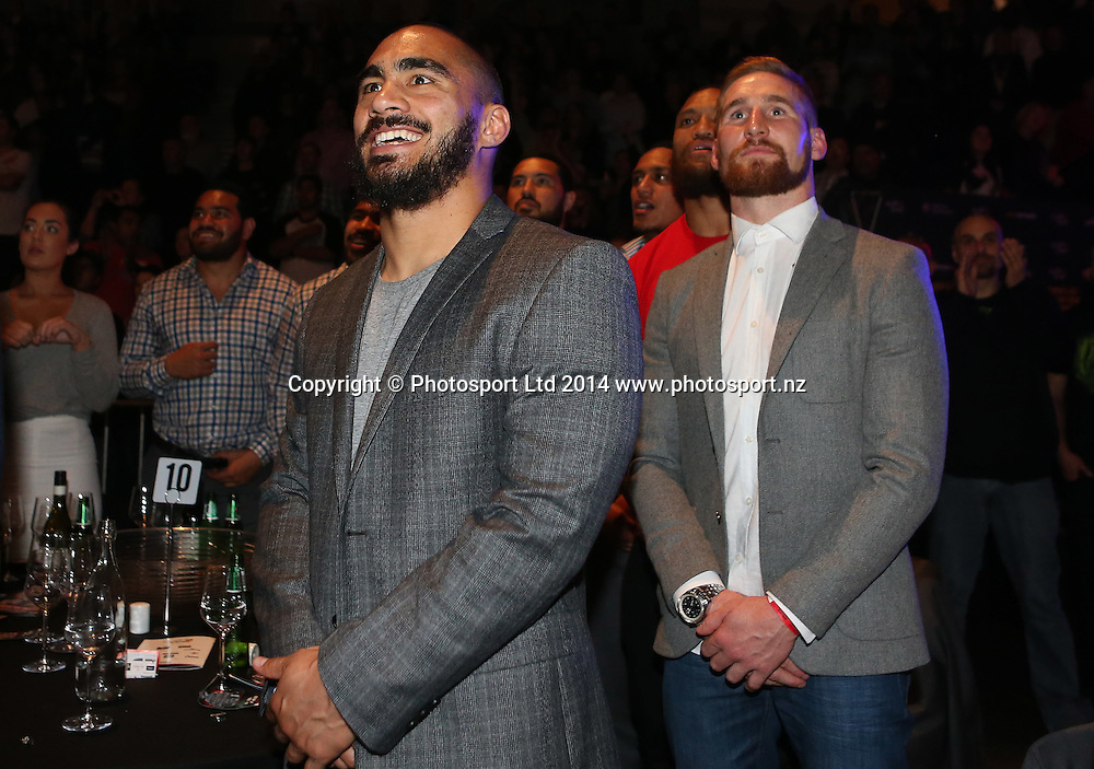 Warriors Thomas Leuluai and Sam Tomkins watch Joseph Parker of NZ win his fight against Brian Minto of USA during the Hydr8 Zero Heavyweight Explosion - Joseph Parker v Brian Minto at The Vodafone Events Centre, Manukau, Auckland. Saturday, July 5, 2014. Photo: Fiona Goodall/photosport.co.nz