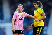 Erin Cuthbert (#22) of Scotland pushes back Marlo Sweatman (#9) of Jamaica during the International Friendly match between Scotland Women and Jamaica Women at Hampden Park, Glasgow, United Kingdom on 28 May 2019.