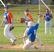 Levittown's #8 is forced out at second base by Upper Moreland's Kyle Irwin at Harry Truman High School Friday July 15, 2016 in Levittown, Pennsylvania. Levittown defeated Upper Moreland 6-0. (Photo by William Thomas Cain)