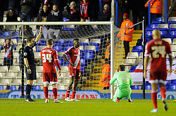 Middlesbrough's Dimitrios Konstantopoulos receives a red card after fouling Birmingham City's Clayton Donaldson in the penalty area - Photo mandatory by-line: Dougie Allward/JMP - Mobile: 07966 386802 - 18/02/2015 - SPORT - Football - Birmingham - ST Andrews Stadium - Birmingham City v Middlesbrough - Sky Bet Championship