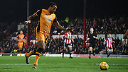 Tom Huddleston readies an effort during the Sky Bet Championship match between Brentford and Hull City at Griffin Park, London, England on 3 November 2015. Photo by Michael Hulf.