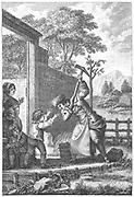 The destruction of the aquaduct. Illustration of an incident in Jean-Jacques Rousseau 'Confessions', Paris, 1782-1789.