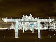 Dockstader Island Bridge under construction on the north shore of Flathead Lake