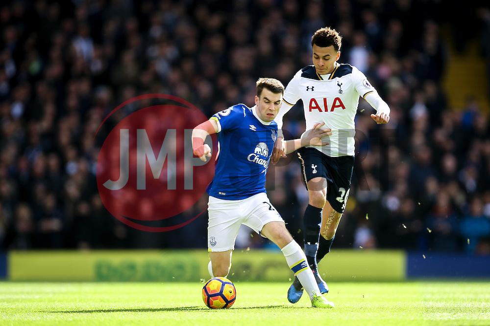 Seamus Coleman of Everton holds back Dele Alli of Tottenham Hotspur - Mandatory by-line: Jason Brown/JMP - 05/03/2017 - FOOTBALL - White Hart Lane - London, England - Tottenham Hotspur v Everton - Premier League