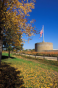 The guard tower and fall color at Fort Snelling, Fort Snelling State Park,  Minneapolis, Minnesota.