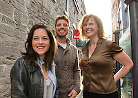 Sarah Greene, Aisling O Sullivan and Keith Duffy who started their first day of rehearsals yesterday at Druid for their production of Big Maggie  which runs in theatres all over Ireland from November 11 till February 2012. Photo:Andrew Downes