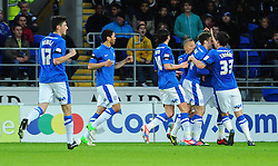 Peterborough United celebrates Peterborough United's Michael Bostwick's goal - Photo mandatory by-line: Dougie Allward/JMP  - Tel: Mobile:07966 386802 15/12/2012 - SPORT - FOOTBALL -  Championship -  Cardiff-  New Cardiff City Stadium  -  Cardiff City v Peterborough United
