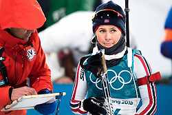 February 12, 2018 - Pyeongchang, SOUTH KOREA - 180212  Tiril Eckhoff of Norway prior the Women's Biathlon 10km Pursuit during day three of the 2018 Winter Olympics on February 12, 2018 in Pyeongchang..Photo: Jon Olav Nesvold / BILDBYRÃ…N / kod JE / 160156 (Credit Image: © Jon Olav Nesvold/Bildbyran via ZUMA Press)