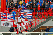 Rangers James Tavernier and Accies Mikel Miller jump for a header during the Ladbrokes Scottish Premiership match between Hamilton Academical FC and Rangers at The Hope CBD Stadium, Hamilton, Scotland on 24 February 2019.