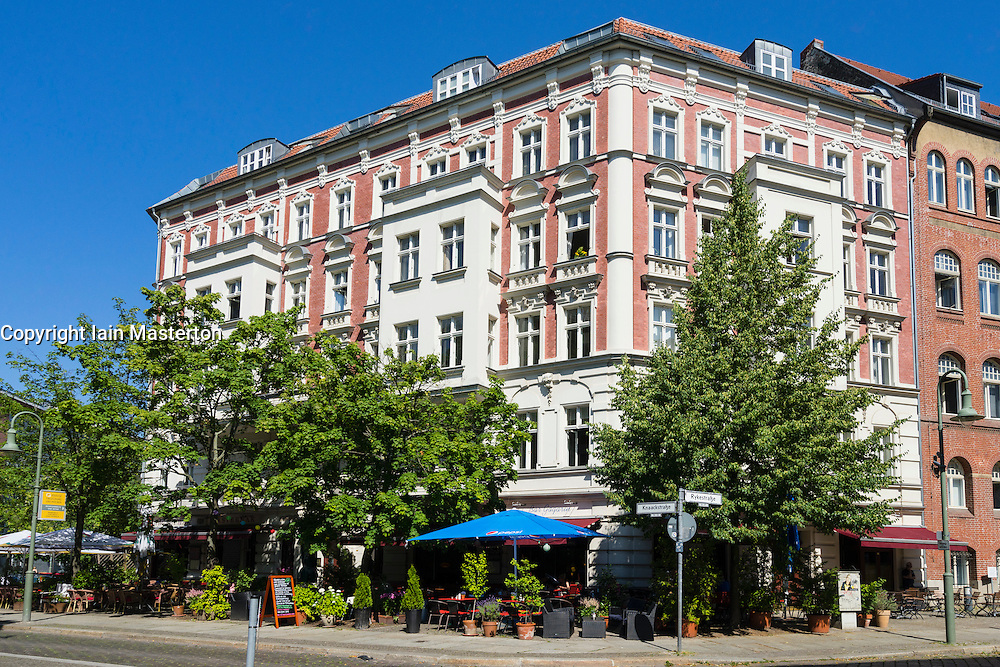 Historic old apartment building on Rykestrasse in bohemian Prenzlauer Berg district of Berlin Germany