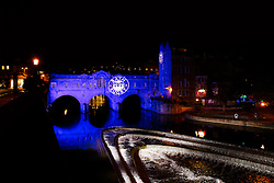 General View of Pulteney Bridge over the River Avon lit up in blue with the Bath Rugby club crest projected on it - Photo mandatory by-line: Rogan Thomson/JMP - 07966 386802 - 24/04/2015 - SPORT - RUGBY UNION - Bath, England - The Recreation Ground - Bath Rugby v London Irish - Aviva Premiership.