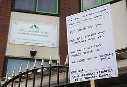 © Licensed to London News Pictures. 20/06/2017. London, UK. A placard with a message to the community is placed outside Finsbury Mosque in north London after a van ploughed into a crowd nearby. One person has been killed and 10 people are injured. Darren Osborne, 47, from Cardiff, continues to be held on suspicion of attempted murder and alleged terror offences.  Photo credit: Peter Macdiarmid/LNP