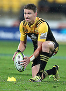 Hurricanes' Beauden Barrett lines up a shot at goal during the Round 14 Super Rugby match, Hurricanes v Highlanders at Westpac Stadium, Wellington. 27th May 2016. Copyright Photo.: Grant Down / www.photosport.nz