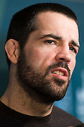DALLAS, TX - MARCH 12:  Matt Brown speaks with the media during the UFC 185 Ultimate Media Day at the American Airlines Center on March 12, 2015 in Dallas, Texas. (Photo by Cooper Neill/Zuffa LLC/Zuffa LLC via Getty Images) *** Local Caption *** Matt Brown
