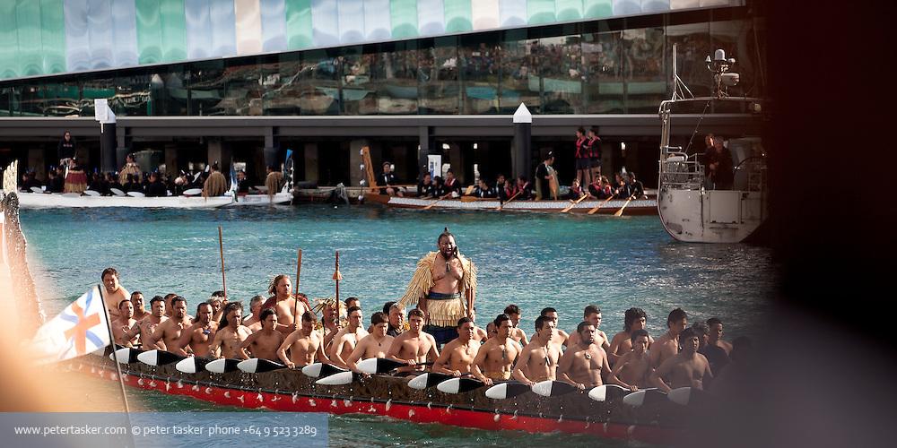 Maori waka crew. Rugby World Cup 2011 opening day.