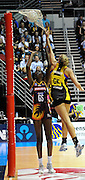 Remalda Aitken nails one for the Firebirds during action from the Major Semi Final of the ANZ Netball Championship played between the Firebirds and the Magic at the Gold Coast Convention and Exhibition Centre on Monday 9th May 2011
