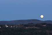 Moon over Craftsbury Common from Coburn Hill