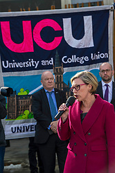 Pictured: Gillian Martin MSP<br /> University pensions row rally was held outside the Scottish Parliament in Edinburgh today. University staff were joined by politicians and students as part of the strike action event. <br /> <br /> Ger Harley | EEm 8 March 2018