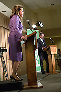 Elizabeth Colbert Busch the democratic candidate for the open Congressional seat stands on a box during a debate against Gov. Mark Sanford the Republican candidate at the Citadel on April 29, 2013 in Charleston, South Carolina.