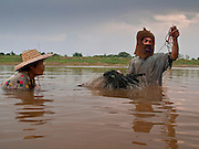 "07 APRIL 2010 - NAKHON PHANOM, THAILAND:  A couple nets fish in a channel in the Mekong River. They said they used to have use a boat for this but now the river is so low they do it on foot. He said he doesn't know why the river is so low, that some people say it's global warming. ""But I don't know what that is. I think it's when the factories send too much smoke into the air, but I don't understand it."" He went onto to say that they catch much fewer fish now than they did in the past. Normally the river flows completely through the river bed but it's currently running through a channel in the bottom of the river bed. The region is in the midst of a record setting drought and the Mekong River is at its lowest point in nearly 50 years, setting up an environmental disaster the region has never seen before. Many of the people who live along the river farm and fish. They claim their crops yields are greatly reduced and that many days they return from fishing with empty nets. The river is so shallow now that fisherman who used to go out in boats now work from the banks and sandbars on foot or wade into the river. In addition to low river levels the Isan region of Thailand is also in the midst of a record drought and heat wave. Farmers have been encouraged to switch from rice to less water intensive crops and to expect lower yields. Farmers here rely more on rain fall than irrigation to water their crops.       PHOTO BY JACK KURTZ"