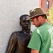 Taken on May 13, 2015, during final stages of construction of the African Burying Ground Memorial in Portsmouth NH. On this day the sculpture figures were installed.