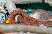 Rusty chain, cable and shackle