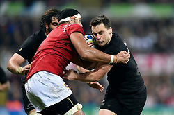 Ben Smith of New Zealand takes on the Tonga defence - Mandatory byline: Patrick Khachfe/JMP - 07966 386802 - 09/10/2015 - RUGBY UNION - St James' Park - Newcastle, England - New Zealand v Tonga - Rugby World Cup 2015 Pool C.