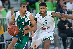 Mustafa Abdul-Hamid of Krka and Casey Mitchell of Union Olimpija during basketball match between KK Union Olimpija Ljubljana and KK Krka in 2nd game final of Telemach Slovenian Champion League 2011/12, on May 20, 2012 in Arena Stozice, Ljubljana, Slovenia. (Photo by Grega Valancic/ Sportida.com)