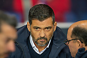FC Porto manager, Sergio Conceicao in a pensive mood before the Group G Europa League match between Rangers FC and FC Porto at Ibrox Stadium, Glasgow, Scotland on 7 November 2019.