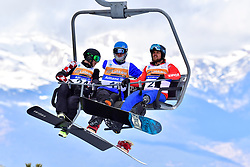 BOSNJAK Bruno, SB-LL1, CRO, PRIOLO Paolo, SB-UL, ITA, ECKHART Rene, AUT, Banked Slalom at the WPSB_2019 Para Snowboard World Cup, La Molina, Spain