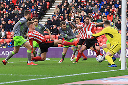 March 16, 2019 - Sunderland, Tyne and Wear, United Kingdom - Sunderland's Max Power forces the ball past Walsall goalkeeper Liam Roberts and into the net but the goal was disallowed during the Sky Bet League 1 match between Sunderland and Walsall at the Stadium Of Light, Sunderland on Saturday 16th March 2019. (Credit: Steven Hadlow | MI News) (Credit Image: © Mi News/NurPhoto via ZUMA Press)
