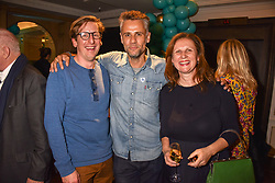 Left to right, Neil Borthwick, Richard Bacon and Angela Hartnett at the launch of the Fortnum & Mason Christmas & Other Winter Feasts Cook Book by Tom Parker Bowles held at Fortnum & Mason, 181 Piccadilly, London, England. 17 October 2018.