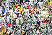 Pile of tin cans full frame
