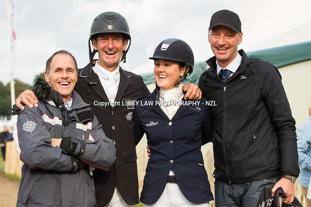 2013 TITLE WINNER: NZL-Lizzie Brown (HENTON ATTORNEY GENERAL) with Blyth Tait; Sir Mark Todd; Erik Duvander: FINAL-1ST: CCIO3* SHOWJUMPING: 2013 NED-Military Boekelo International Horse Trial (Sunday 13 October) CREDIT: Libby Law: COPYRIGHT: LIBBY LAW PHOTOGRAPHY - NZL