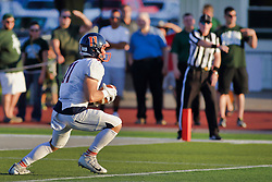 {BLOOMINGTON, IL: Phillip Nichols during a college football game between the IWU Titans  and the Wheaton Thunder on September 15 2018 at Wilder Field in Tucci Stadium in Bloomington, IL. (Photo by Alan Look)