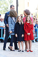 King Felipe VI of Spain, Crown Princess Leonor, Queen Letizia of Spain, Princess Sofia, Queen Sofia of Spain attended the Easter Mass at the Cathedral of Palma de Mallorca on April 16, 2017 in Palma de Mallorca, Spain.