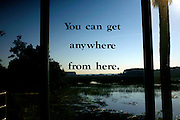 An empowering message is seen from the lobby of the Marine Biology building that overlooks a marsh at Savannah State University, an historically black university in Savannah, Georgia February 9, 2009. KENDRICK BRINSON