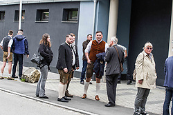 "May 4, 2019 - Greding, Bavaria, Germany - Lawyer Dubravko Mandic looking at the camera outside of an event by the extreme-right flank of the AfD called ''der Fluegel''.  Mandic is now the subject of national attention for aggressively approaching journalists and filing criminal complaints against them. Die right-extremist flank of the Alternative for Germany party known as ""der Fluegel"" (""The Wing"") appeared in Greding, near Nuremburg in Bavaria.  Appearing with the group was Bjoern Hoecke, Benjamin Nolte, Bernhard Zimniok and Christina Baum.  Due to connections to the right-extremist spectrum and efforts against democracy, the Office for the Protection of the Constitution (Verfassungsschutz, Secret Service) escalated the group to preliminary monitoring ahead of possible formal monitoring. Participants, including right-radical Dubravko Mandic of the AfD in Freiburg aggressively approached and harassed journalists on the scene, with him taking the phone away of one.  Later, after calls to take the cameras from journalists, two attacked a journalist.  Mandic has posted about ""the great exchange"" referencing such theories by white supremacists who committed shootings, such as in Christ Church. (Credit Image: © Sachelle Babbar/ZUMA Wire)"
