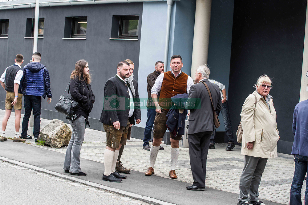 """May 4, 2019 - Greding, Bavaria, Germany - Lawyer Dubravko Mandic looking at the camera outside of an event by the extreme-right flank of the AfD called ''der Fluegel''.  Mandic is now the subject of national attention for aggressively approaching journalists and filing criminal complaints against them. Die right-extremist flank of the Alternative for Germany party known as """"der Fluegel"""" (""""The Wing"""") appeared in Greding, near Nuremburg in Bavaria.  Appearing with the group was Bjoern Hoecke, Benjamin Nolte, Bernhard Zimniok and Christina Baum.  Due to connections to the right-extremist spectrum and efforts against democracy, the Office for the Protection of the Constitution (Verfassungsschutz, Secret Service) escalated the group to preliminary monitoring ahead of possible formal monitoring. Participants, including right-radical Dubravko Mandic of the AfD in Freiburg aggressively approached and harassed journalists on the scene, with him taking the phone away of one.  Later, after calls to take the cameras from journalists, two attacked a journalist.  Mandic has posted about """"the great exchange"""" referencing such theories by white supremacists who committed shootings, such as in Christ Church. (Credit Image: © Sachelle Babbar/ZUMA Wire)"""