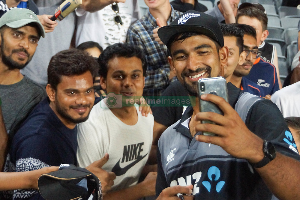 February 17, 2018 - Auckland, Auckland, New Zealand - Ish Sodhi of New Zealand takes selfies with fans after the T20 Tri series between New Zealand and Australia at Eden Park in Auckland on Feb 16, 2018. Australia win by 5 wickets. (Credit Image: © Shirley Kwok/Pacific Press via ZUMA Wire)