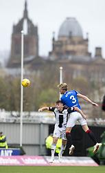 Rangers' Joe Worrall out jumps St Mirren's Danny Mullen during the Ladbrokes Scottish Premier League match at St Mirren Park, St Mirren.