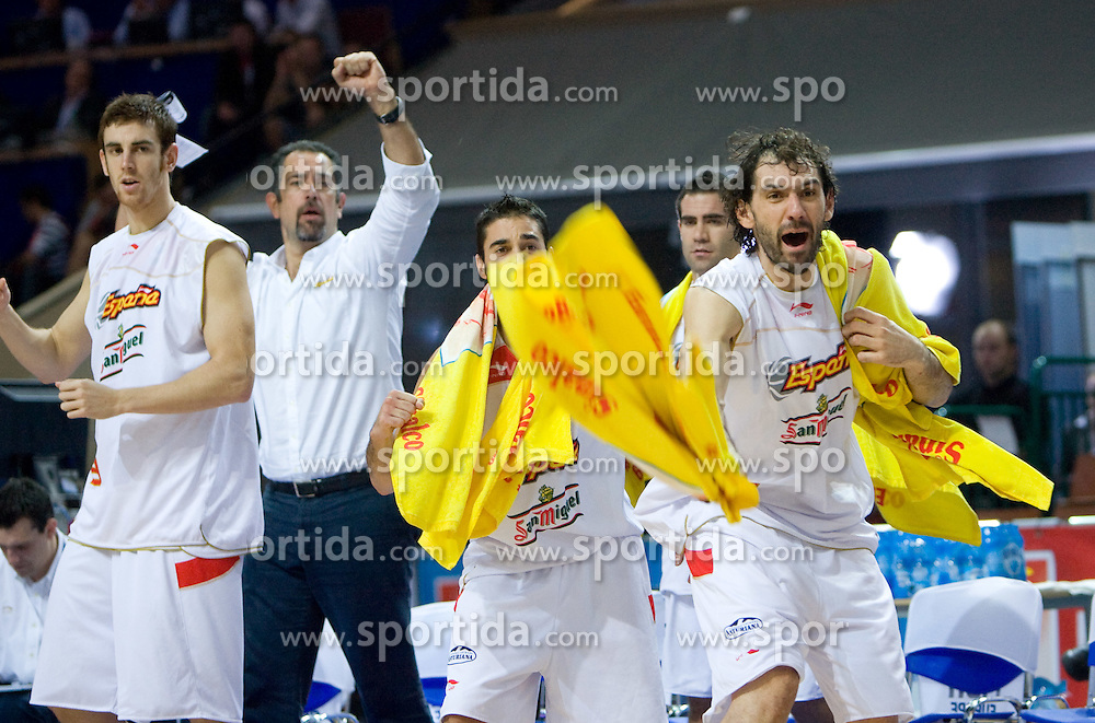 Garbajosa of Spain celebrates during the EuroBasket 2009 Final match between Spain and Serbia, on September 20, 2009, in Arena Spodek, Katowice, Poland.   (Photo by Vid Ponikvar / Sportida)