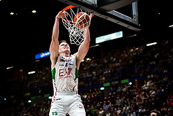 April 29, 2018 - Milan, Milan, Italy - Kaleb Tarczewski (#14 EA7 Emporio Armani Milano) make a slam dunk during a basketball game of Poste Mobile Lega Basket A between  EA7 Emporio Armani Milano vs VL Pesaro at Mediolanum Forum, in Milan, Italy, on April 29, 2018. (Credit Image: © Roberto Finizio/NurPhoto via ZUMA Press)